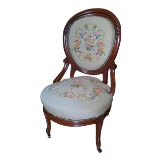 1990s Victorian Wool Upholstered Wooden Side Chair For Sale