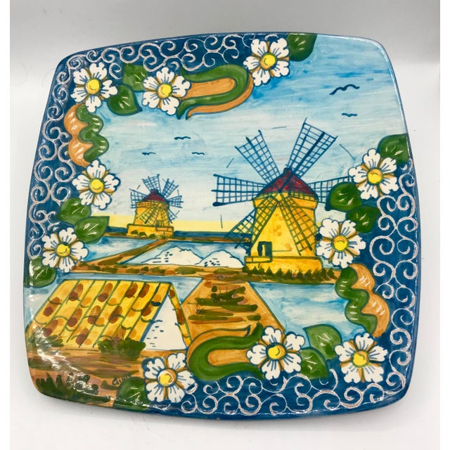Trapani Windmills of Sicily Motif Hand Painted Terra Cotta Antipasta Wall Platter For Sale In New York - Image 6 of 6
