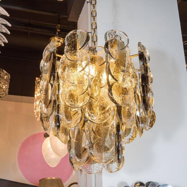 Mid-Century Modern Murano Glass Chandelier Designed by J.T. Kalmar of Austria, Fabricated by Seguso For Sale - Image 3 of 9