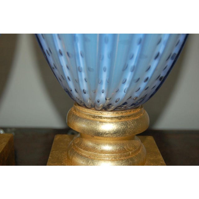 Brass Vintage Murano Opaline Glass Table Lamps Lavender For Sale - Image 7 of 10
