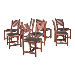 Lambrecht Studio Set of Eight Teak and Leather Dining Chairs, USA, 1950s For Sale