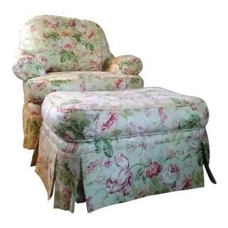 Ethan Allen Charlotte Swivel Chair & Ottoman