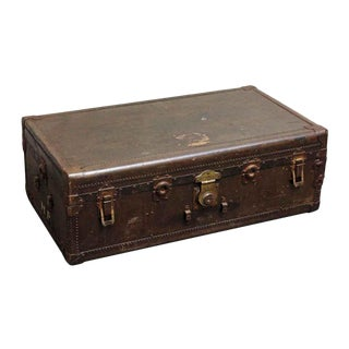 Vintage Mid Century European Large Brown Trunk For Sale