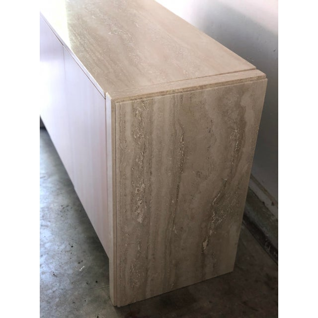 Italian Vintage Italian Travertine Credenza Buffet For Sale - Image 3 of 12