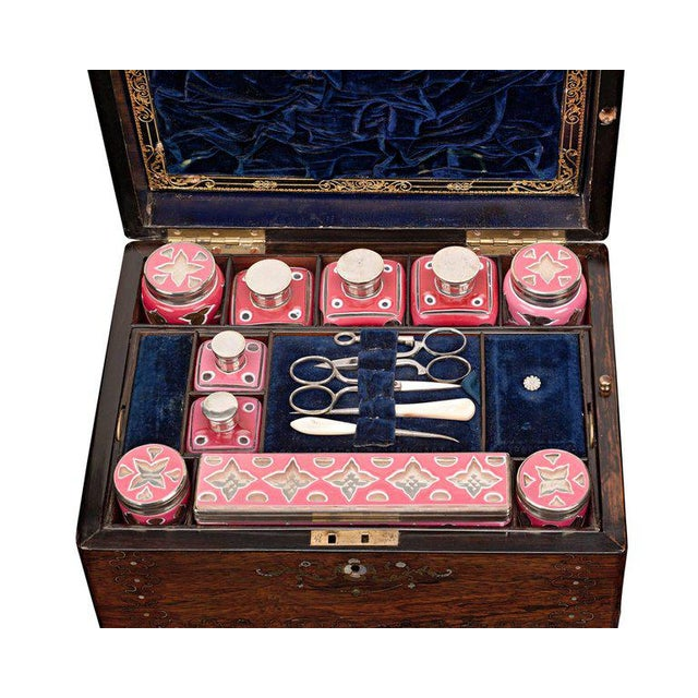 A work of extraordinary craftsmanship, this exquisite English vanity case is as much an item of luxury as it is of...