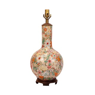 """1870s Chinese """"Mille Fleur"""" Mounted Vase Lamp For Sale"""