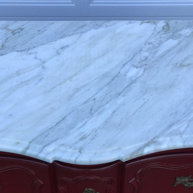 Baker Marble Topped Painted Chippendale Dresser of Drawers For Sale In Chicago - Image 6 of 13