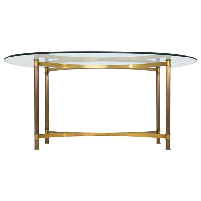 Oval Brass & Glass Dining Table - Image 3 of 9
