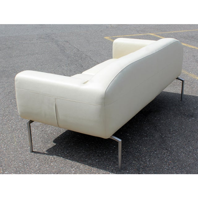 Contemporary Modern White Leather Sofa on Steel Frame B&b Minotti Style  Italian