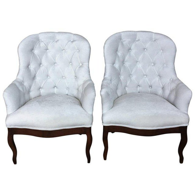 19th Pair of Louis XV Bergère Armchairs in White Velvet For Sale - Image 12 of 12