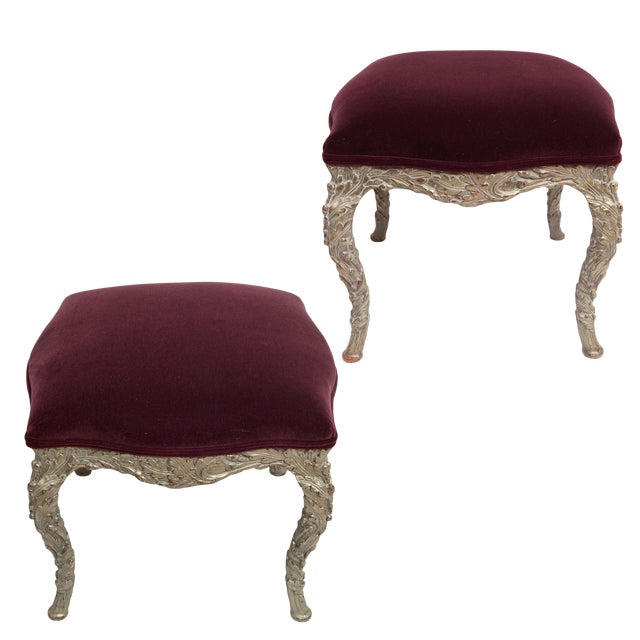 20th Century Traditional Wood Carved Silver Gilt Painted Stools - a Pair For Sale