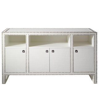 Designer Lacquered Grasscloth Media Console