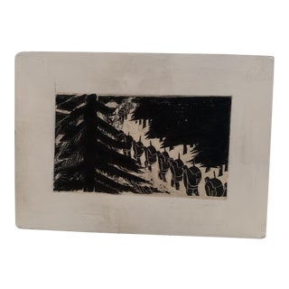 Vintage Black and White Woodcut Block For Sale