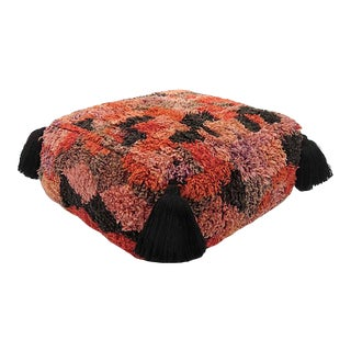 Vintage Abstract Moroccan Pouf For Sale