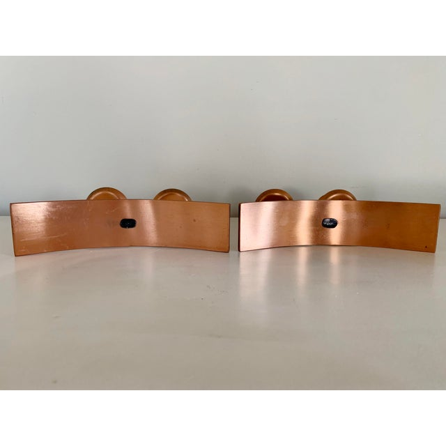 Copper 1960s Mid-Century Minimalist Black and Copper Candle Holders - Set of 2 For Sale - Image 8 of 10