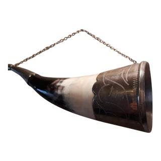 Russian Caucasian Silver Alloy Drinking Horn For Sale