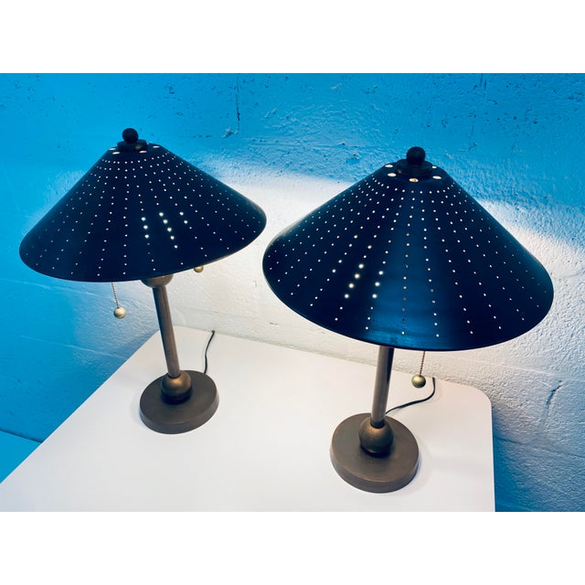 Postmodern Brass Desk or Table Lamps - a Pair For Sale - Image 11 of 13