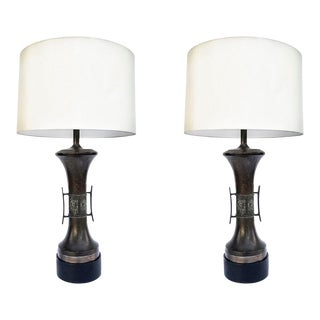 Pair of Bronze Table Lamps For Sale