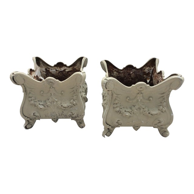 Antique French Style Cast Iron Planters - A Pair - Image 1 of 7
