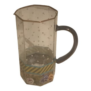 1990s Mackenzie Childs Glass Painted Pitcher For Sale