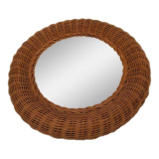 Rattan Bamboo Wall Round Mirror For Sale
