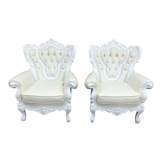 Polart Style White Chairs- a Pair For Sale