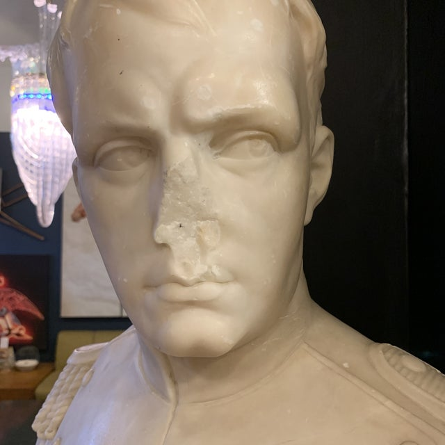 Late 20th Century Napoleon Marble Bust W/ Granite Base For Sale - Image 5 of 10
