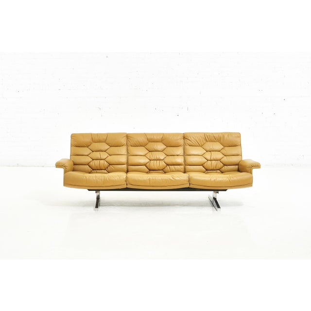 De Sede Leather DS-P Sofa by Robert Haussmann, Switzerland, 1970. Chair and ottoman is sold in separate listing.