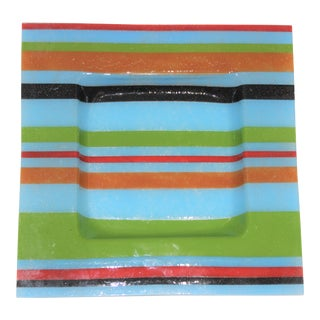 Italian Glass Square Striped Bowl Dish in the Style of Fendi 1970s For Sale