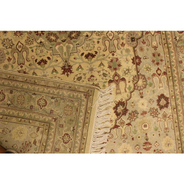 Textile Tabriz Pak-Persian Loren Ivory/Lt. Green Wool Rug - 4'8 X 7'1 For Sale - Image 7 of 8