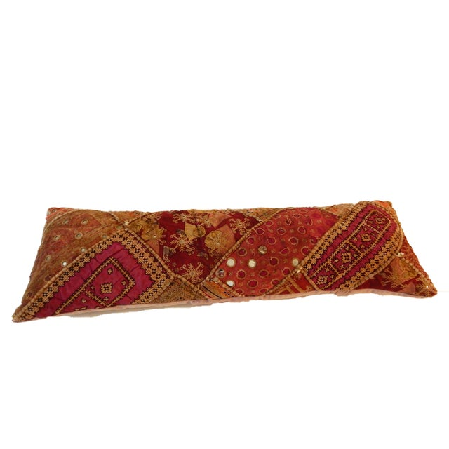Superb custom made long lumbar vintage Indian handmade patchwork cotton Pillow with small mirrors, and embroideries ,minor...