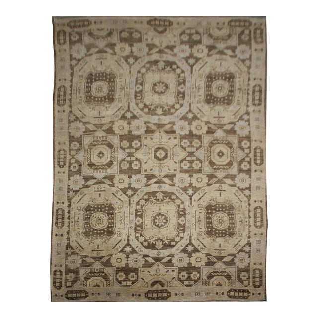 "Hand Knotted Fine Oushak Rug by Aara Rugs Inc. - 8'11"" X 13'1"" For Sale"