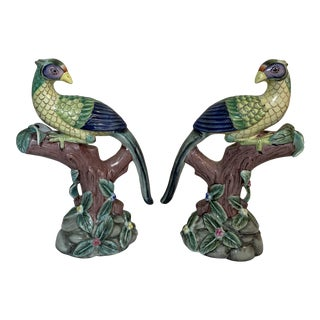 Vintage Glazed Pottery Peacocks - a Pair For Sale