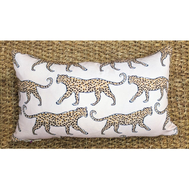 Boho Chic Blush Leopard Print Lumbar Pillow For Sale - Image 3 of 3