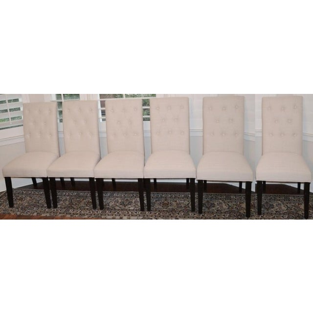Beige Linen Tufted Dining Chairs - Set of 6 - Image 2 of 3