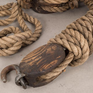 19th C. Block and Tackle With Rope C. 1880s. Preview