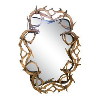 Deer Antler Wall Mirror For Sale