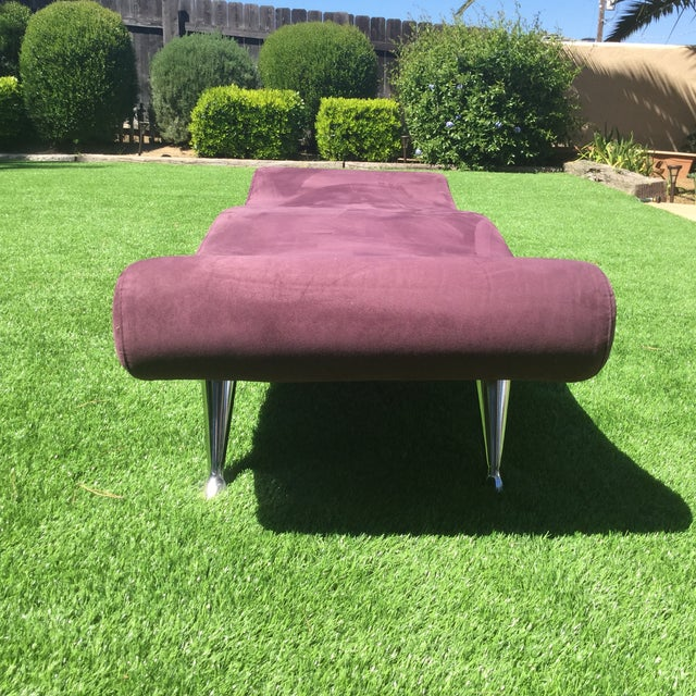 Unique purple polyester fiber bench with chrome legs. Please note: the legs are chrome and therefore are reflective.