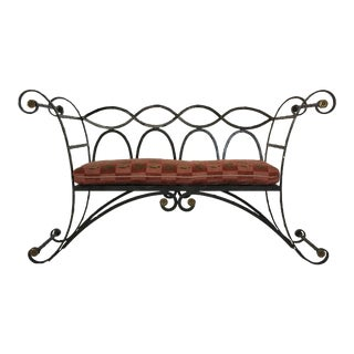 Mid-Century Wrought Iron Scroll Work Bench For Sale