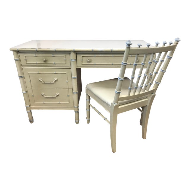 Vintage Thomasville Cream Painted Faux Bamboo Desk and Chair For Sale