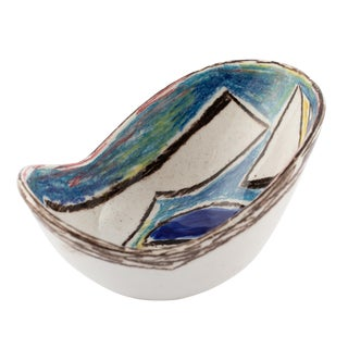 Marcello Fantoni Ceramic Bowl With Abstract Design, Circa 1960s For Sale