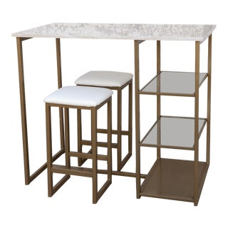 Modern Mid-Century Style Marble Bar Table and Stools- Set of 3 For Sale