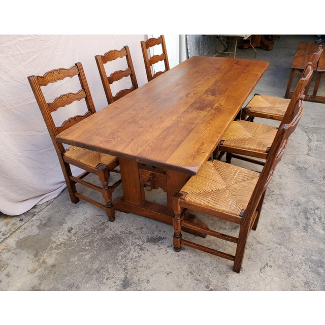 Arts & Crafts Antique Plank Solid Oak Refectory Dining Table With Set of 6 Ladderback Chairs - 7 Pieces For Sale - Image 3 of 13