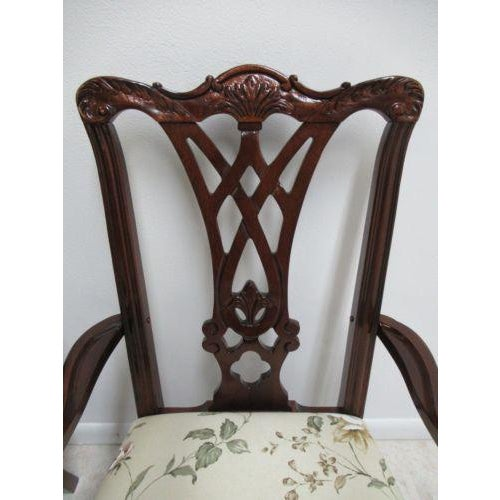 1990s Thomasville Solid Mahogany Chippendale Dining Arm Chairs - a Pair For Sale - Image 5 of 12