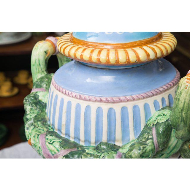 Blue 19th Century Della Robbia Italian Hand-Painted and Glazed Lidded Urn For Sale - Image 8 of 10