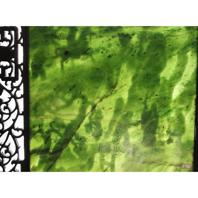 Chinese Vintage Spinach Green Stone Scenery Carving Table Top Wall Panel Displa For Sale - Image 10 of 13