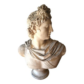 19th C. Italian Carved Marble Bust of Man For Sale