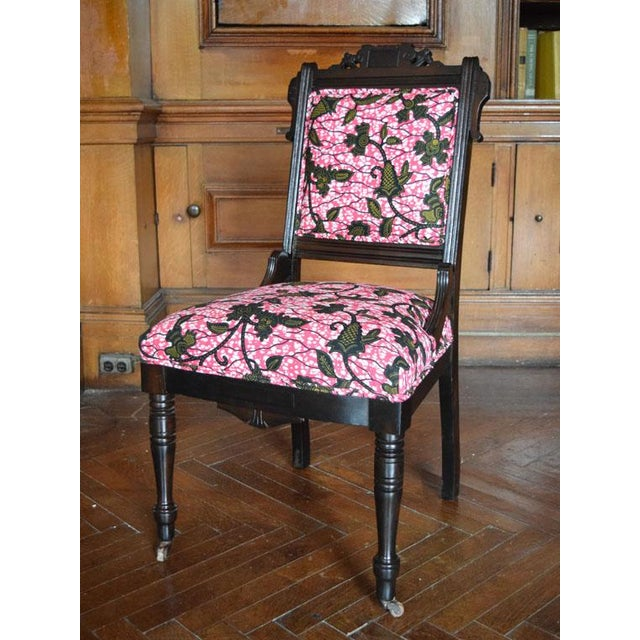 African Print Victorian Eastlake Side Chair Chairish