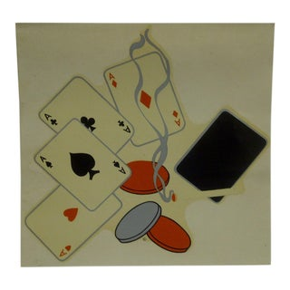 """Vintage 1930s Decal / Wall Decoration """"Poker Night"""" the Meyercord Co. Chicago For Sale"""