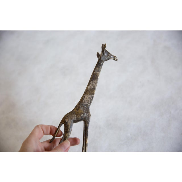 Vintage African Dark Bronze With Golden Streaks Giraffe For Sale In New York - Image 6 of 8